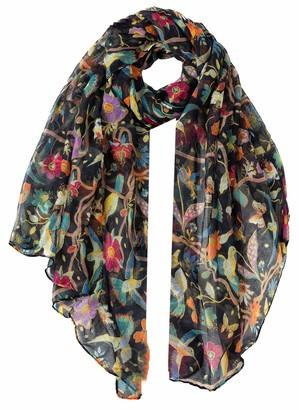 World Of Shawls Girls Lady Women Colorful Long Cute Robin Bird Print Scarf Wraps Shawl Soft Scarves Maxi (Cream)