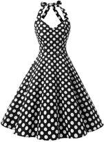 Dressystar Vintage 1950's Polka Dot Swing Party Picnic Dress Prom Cocktail Dress White black L