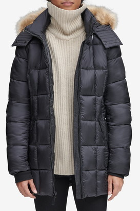 Andrew Marc Maddy Quilted Faux Fur Trim Hooded Puffer Jacket