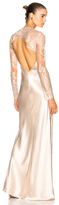 Michelle Mason Bias Gown with Lace Shrug in Neutrals.