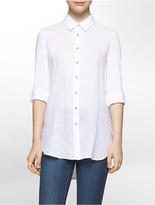Calvin Klein Linen + Knit Roll-Up Sleeve Tunic