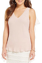 M.S.S.P. Sleeveless Ruffle Side Georgette Blouse