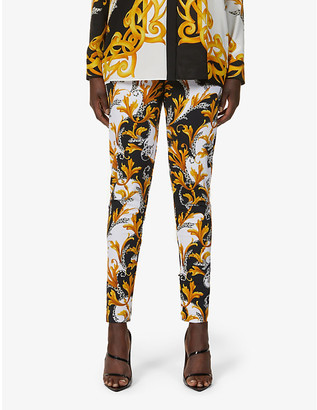 Versace Baroque-print stretch-woven mid-rise leggings