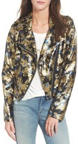 Love, Fire Women's Metallic Floral Biker Jacket