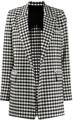Ami Gingham Buttonless Long Blazer