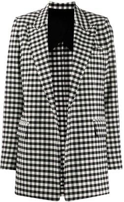 AMI Paris Gingham Buttonless Long Blazer