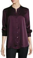 Eileen Fisher Silk Mandarin-Collar Shirt, Petite