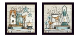 """Trendy Décor 4U Mary's Country Shelf Collection By Mary June, Printed Wall Art, Ready to hang, Black Frame, 28"""" x 14"""""""