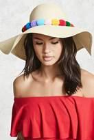 Forever 21 FOREVER 21+ Pom Pom Floppy Straw Hat