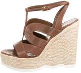 Saint Laurent Leather Platform Wedge Sandals