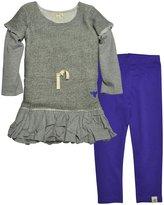 Burt's Bees Baby Loose Terry Ruffle Dress Set (Baby) - Heather Grey-6-9 Months