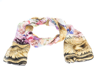 Roberto Cavalli Multicolor Eagle & Floral Print Silk Scarf