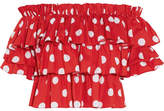 Caroline Constas Pandora Ruffled Off-the-shoulder Polka-dot Cotton Top - Red