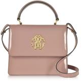 Roberto Cavalli Cappuccino Patent Leather Small Satchel Bag