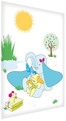 Camilla And Marc Feel Good Art A7 Diamond-Polished Acrylic Token/Decor Block Frame (10.5 x 7.4 x 2 cm, Mummy and Baby Elephant Having Fun)