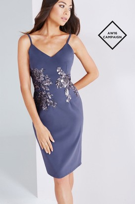 Little Mistress Lavender Grey Cami Dress With Gold Sequin
