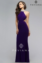 Faviana Bejeweled High Halter Chiffon Evening Gown with Side Cut-outs 7700