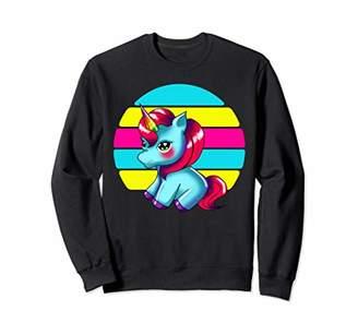 Unicorn Retro Rainbow Birthday Women Sweatshirt