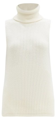 LA COLLECTION Deborah Roll-neck Sleeveless Cashmere Sweater - Ivory