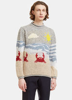 Thom Browne Men's Beachside Jacquard Mohair Knit Sweater In Grey