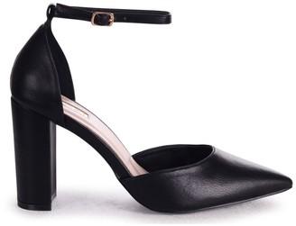 Linzi MARLIE - Black Nappa Court Shoe With Ankle Strap & Block Heel
