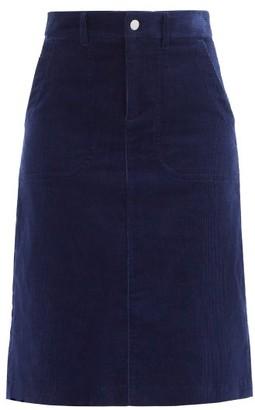 A.P.C. Jennie Cotton-blend Corduroy Skirt - Navy