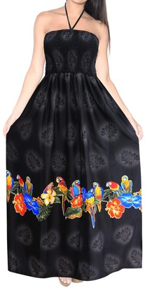LA LEELA Swimwear Halter Neck Women Beachwear Dress Tube Top Maxi Cover up Swimsuit Halloween Black