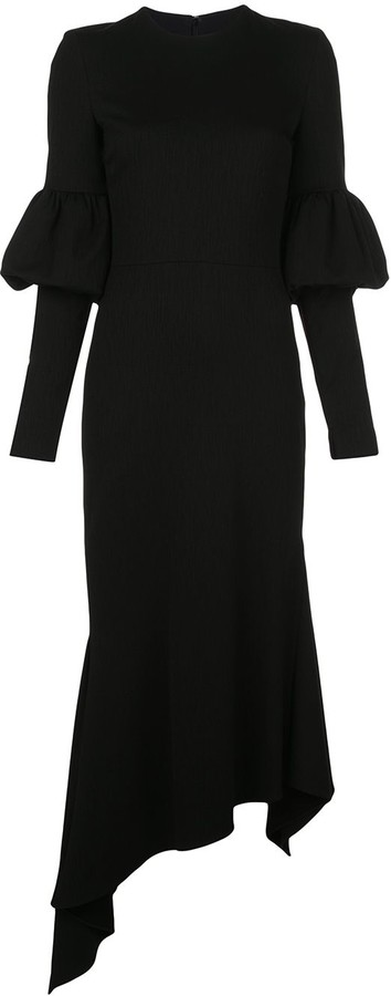 Christian Siriano Fitted Puff Sleeved Dress