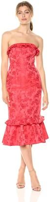 C/Meo Women's Levity Strapless Rose Print MIDI Dress with Ruffle Hem