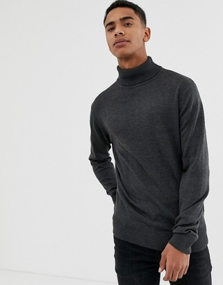 French Connection Plain 100% Cotton Roll Neck Jumper-Grey