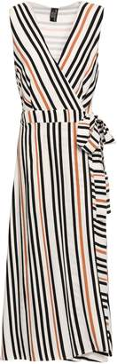 Jets Striped Printed Twill Wrap Dress