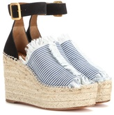 Chloé Suede And Canvas Wedge Espadrilles