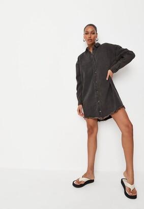 Missguided Black Oversized Denim Shirt Dress