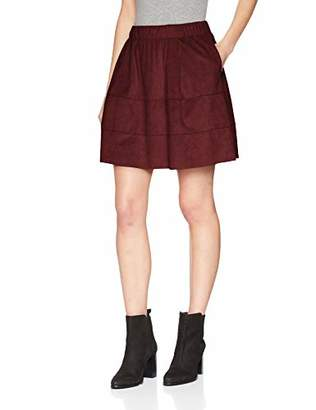 Noisy May Women's Nmlauren Faux Suede Skirt Noos, Red Port Royale, (Size: X-)