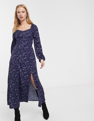 And other stories & maxi dress with split detail in multi blue floral print