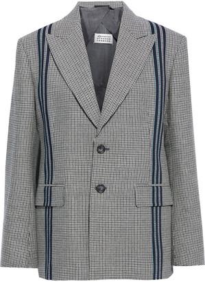 Maison Margiela Striped Houndstooth Wool Blazer