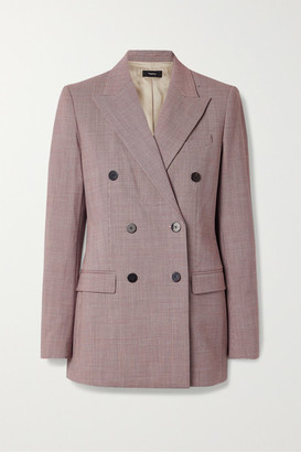 Theory Houndstooth Woven Blazer - Claret