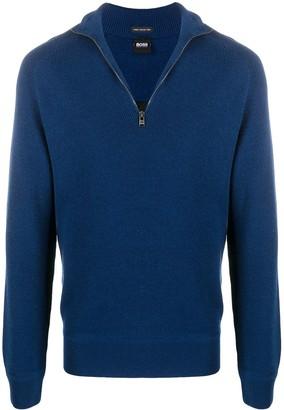 HUGO BOSS Half-Zip Ribbed Sweater