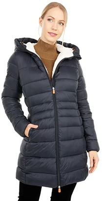 Save The Duck Giga Sherpa Lined Mid Length Puffer Coat (Black) Women's Clothing