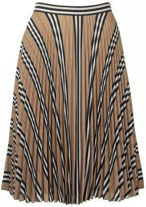 Burberry Logo And Stripe Print Crepe Pleated Skirt