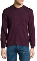 Etro Tonal Paisley-Print Long-Sleeve Sweater, Burgundy