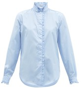 Officine Generale Melody Ruffled-trim Stand Collar Cotton Shirt - Womens - Light Blue