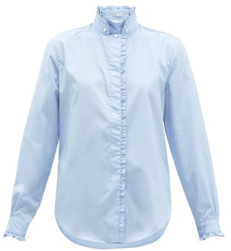 Officine Generale Melody Ruffled-trim Stand Collar Cotton Shirt - Womens - Light Blue