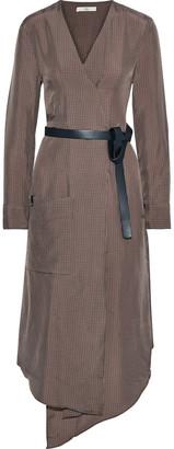 Tibi Walden Wrap-effect Checked Satin-twill Midi Dress