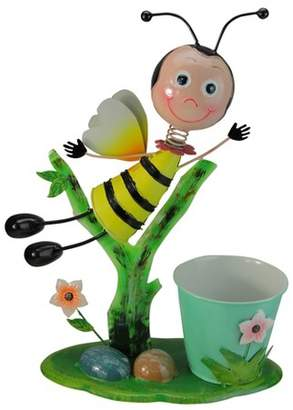 """Northlight 17"""" Bee and Flowers Spring Outdoor Garden Planter - Green/Yellow"""