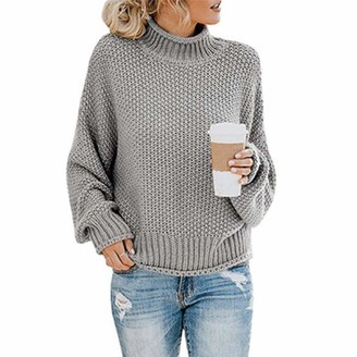 BEUHOME Women Chunky Turtleneck Sweater Jumper Batwing Sleeve Casual Knit Pullover Top Grey