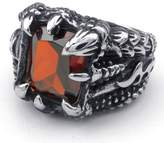 TEMEGO Jewelry Mens Cubic Zirconia Stainless Steel Ring, Vintage Gothic Eagel Claw Band, Red Black Silver