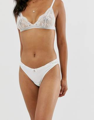 Ted Baker geo jacquard logo french underwear in ivory-White