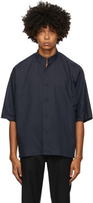Homme Plissé Issey Miyake Navy Linen and Cotton Short Sleeve Shirt