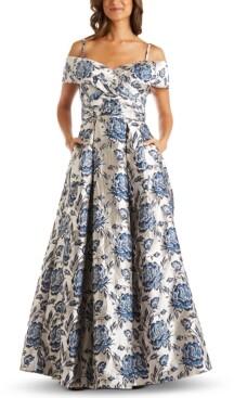 Night Way Nightway Petite Floral-Brocade Cold-Shoulder Gown